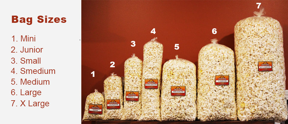 Our Popcorn Bag Sizes