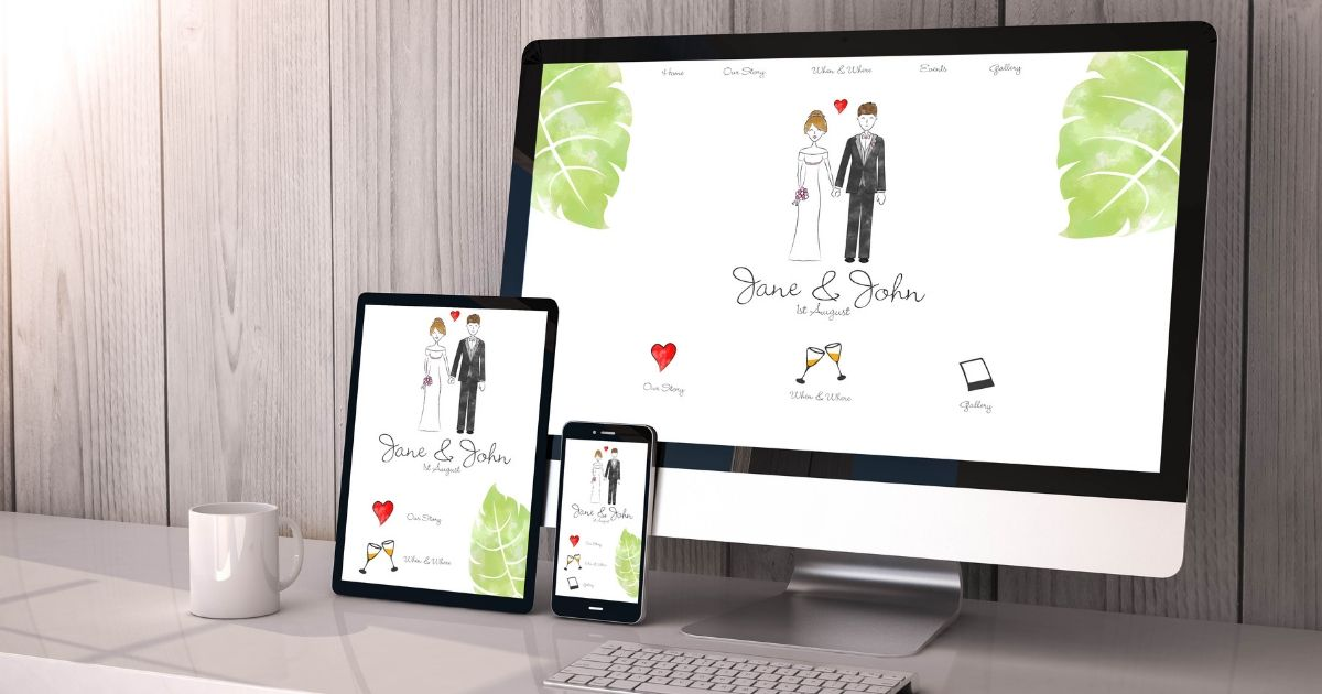 Wedding website on a computer, a tablet and a cell phone