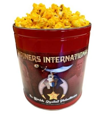 1 gallon popcorn tin with Orak Shriners logo